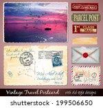 travel vintage postcard design... | Shutterstock . vector #199506650