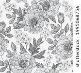 seamless monochrome gray floral ... | Shutterstock .eps vector #1995068756