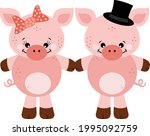 cute couple of pink pigs   | Shutterstock .eps vector #1995092759