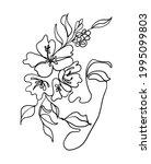girl face and flower outline...   Shutterstock .eps vector #1995099803