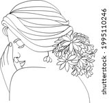 abstract face with flowers line ... | Shutterstock .eps vector #1995110246