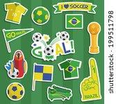 set of brazil soccer  football... | Shutterstock .eps vector #199511798