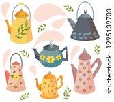 a set of teapots. scandinavian...   Shutterstock .eps vector #1995139703