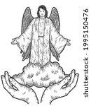 hands exalt the angel in heaven.... | Shutterstock .eps vector #1995150476