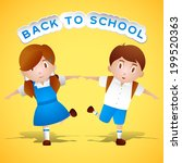 two cute little kids holding... | Shutterstock .eps vector #199520363