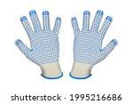 cotton work gloves on white... | Shutterstock .eps vector #1995216686