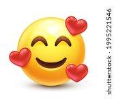 in love emoji. smiling emoticon ... | Shutterstock .eps vector #1995221546
