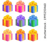 gift boxes  presents icon set.... | Shutterstock .eps vector #1995253460