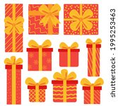 gift boxes  presents icon set.... | Shutterstock .eps vector #1995253463