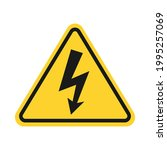 high voltage sign. triangle... | Shutterstock .eps vector #1995257069