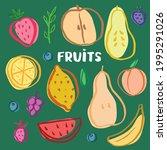fruit set  collection of juicy...   Shutterstock .eps vector #1995291026