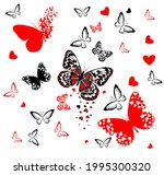butterflies with hearts... | Shutterstock .eps vector #1995300320