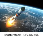 Cargo Rocket Takes Off. 3d...