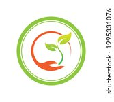 creative hand and leaf logo... | Shutterstock .eps vector #1995331076