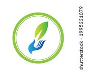 creative hand and leaf logo... | Shutterstock .eps vector #1995331079