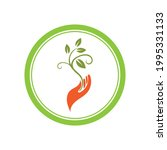 creative hand and leaf logo... | Shutterstock .eps vector #1995331133
