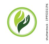 creative hand and leaf logo... | Shutterstock .eps vector #1995331196