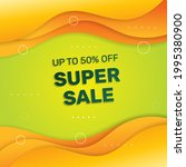 minimal super sale banner.  ... | Shutterstock .eps vector #1995380900