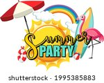 summer party text with flamingo ...   Shutterstock .eps vector #1995385883