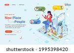 landing page isometric...   Shutterstock .eps vector #1995398420