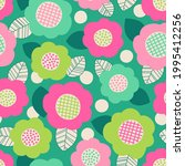 colorful cute hand drawn floral ...   Shutterstock .eps vector #1995412256