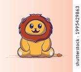 lion cute cartoon illustration... | Shutterstock .eps vector #1995429863
