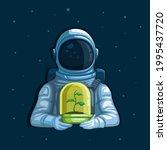 astronaut holding plant on... | Shutterstock .eps vector #1995437720