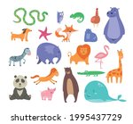 set of cute cartoon wild and... | Shutterstock .eps vector #1995437729