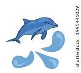 dolphin in cartoon style ... | Shutterstock .eps vector #1995441029