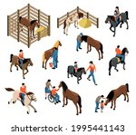 hippotherapy isometric set with ... | Shutterstock .eps vector #1995441143