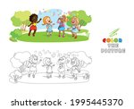 coloring page with multiracial... | Shutterstock .eps vector #1995445370