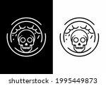 black and white skull in circle ... | Shutterstock .eps vector #1995449873