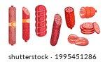 salami  pepperoni smoked... | Shutterstock .eps vector #1995451286