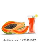 papaya fruit juice drink... | Shutterstock .eps vector #1995452519