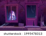 haunted house with sad ghost... | Shutterstock .eps vector #1995478313