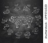 pig. vector format  | Shutterstock .eps vector #199551020