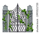 iron wrought vector gate  old... | Shutterstock .eps vector #1995521720