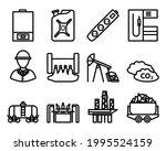 energy icon set. editable bold...