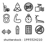 fitness icon set. bold outline...