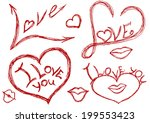 hearts   kisses and phrases... | Shutterstock .eps vector #199553423