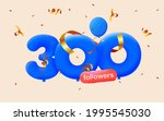 300 followers thank you 3d blue ... | Shutterstock .eps vector #1995545030
