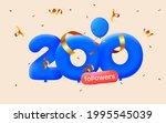 200 followers thank you 3d blue ... | Shutterstock .eps vector #1995545039