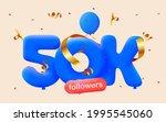 50k followers thank you 3d blue ...   Shutterstock .eps vector #1995545060