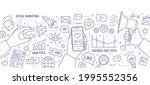 horizontal banner with hands... | Shutterstock .eps vector #1995552356