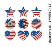 patriotic stickers set.... | Shutterstock .eps vector #1995567413