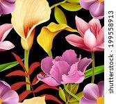 seamless tropical flower  plant ... | Shutterstock . vector #199558913