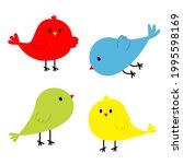 Four Bird Icon Set Line. Cute...