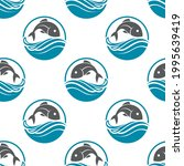 seamless pattern with fish and... | Shutterstock .eps vector #1995639419