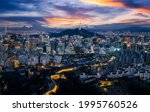 Cityscap of seoul city from top of mountain, South korea