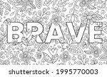 brave. cute hand drawn coloring ... | Shutterstock .eps vector #1995770003